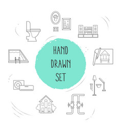 set of design icons line style symbols with house vector image