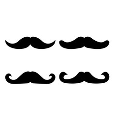Set of moustache icon and label fathers day flat vector