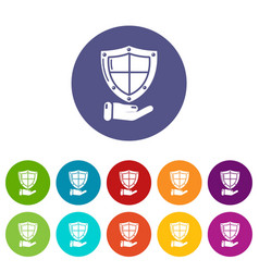 shield icons set color vector image