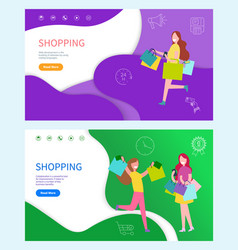 shopping happy day running women with bags vector image