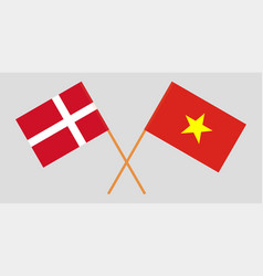 Socialist republic of vietnam and denmark flags vector