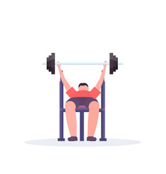Sporty man lying on bench lifting barbell with vector