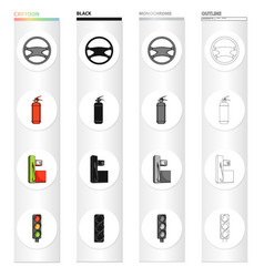 Steering wheel fire extinguisher gas station for vector