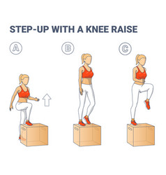 Step up with a knee raise exercise for female home vector