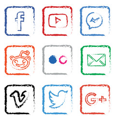 Stylised social media icon set vector