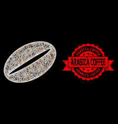 Textured arabica coffee stamp seal and bright web vector