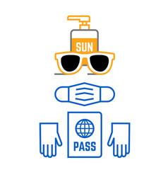 travel icons set sunglasses mask gloves passport vector image
