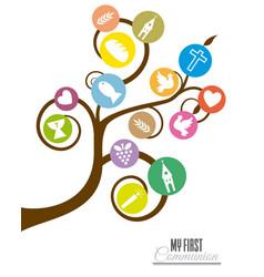 Tree religious icons vector