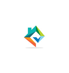 triangle shape colored home realty logo vector image