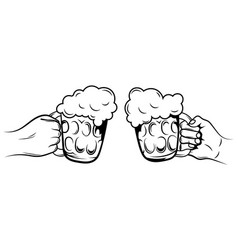 two glasses beer black and white vector image