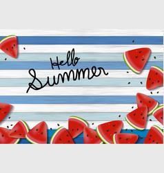 Watermelon on wood background summer banner vector