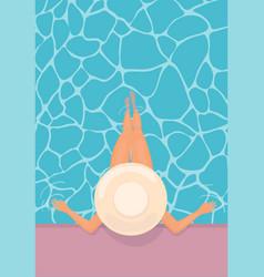 Women lying in floating swimming poolsummer pool vector