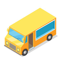 Yellow waggon for implementation of street food vector