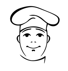 Young chinese cook contour portrait vector image