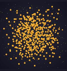 golden confetti spray on dark background template vector image vector image