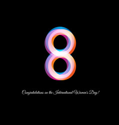 isolated neon pink color number eight icon on vector image