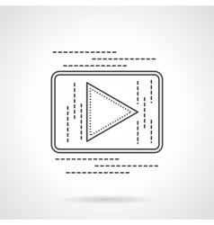 Online video button flat line icon vector image vector image