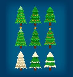 set of flat 9 christmas tree vector image