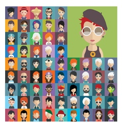 Set of people icons in flat style with faces 22 a vector image vector image