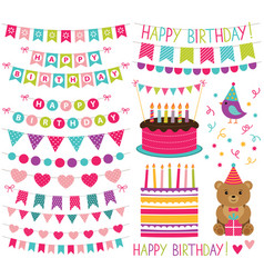 kid birthday party set vector image vector image