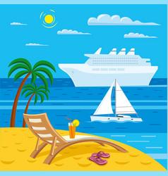 Tropical sea beach vector