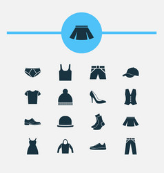 Garment icons set collection of beanie trilby vector