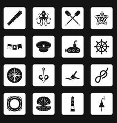 nautical icons set squares vector image