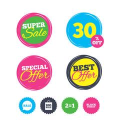 sale speech bubble icons black friday symbol vector image
