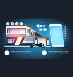 smart phone over smart house background modern vector image