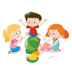 boys and girls passing object round the circle vector image