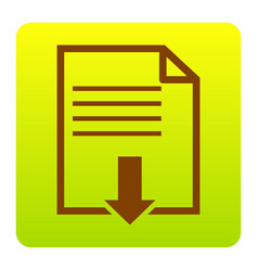 file download sign brown icon at green vector image vector image