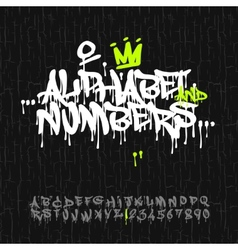 Graffiti alphabet and numbers vector image