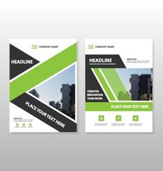 Green annual report leaflet brochure templates set vector