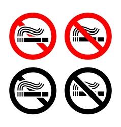 No smoking symbols set vector image