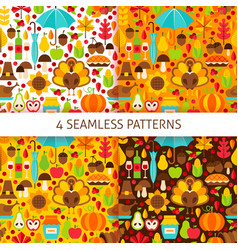 thanksgiving day seamless patterns vector image vector image
