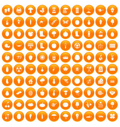 100 garden icons set orange vector