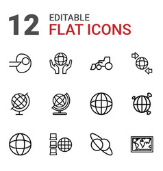 12 earth icons vector image