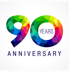 90 anniversary facet color logo vector image