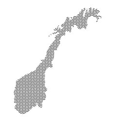 abstract norway country silhouette of wavy black vector image