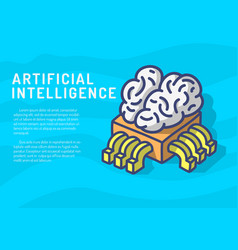 artificial intelligence themed design hand drawn vector image