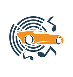 Audio car system music note logo template vector