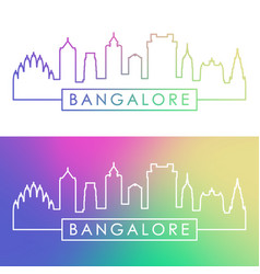 bangalore skyline colorful linear style editable vector image