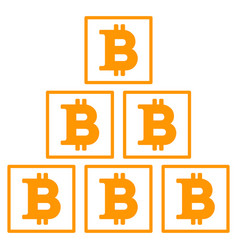 Bitcoin pyramid flat icon vector