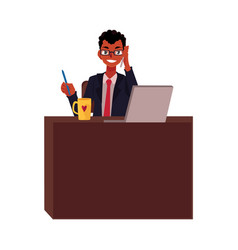 black african businessman working at office table vector image