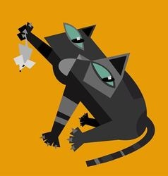 Black cat with white mouse vector