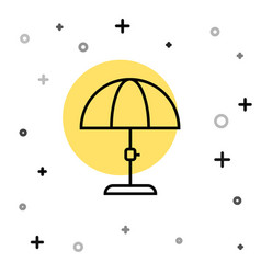 black line sun protective umbrella for beach icon vector image