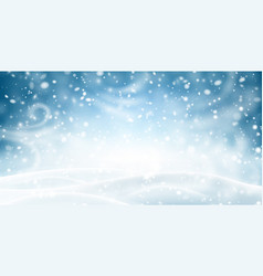 Blue shiny banner with winter landscape snow and vector