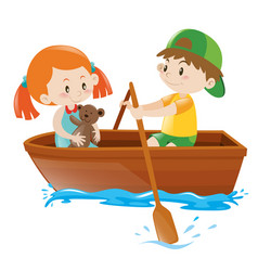 Boy rowing boat with girl as passenger vector