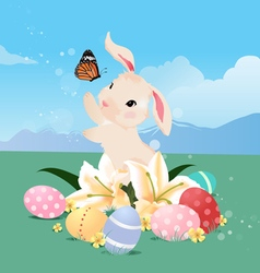 Bunny rabbit playing with butterfly and Easter egg vector