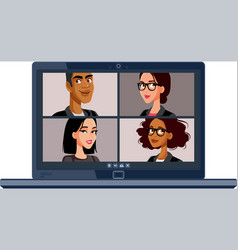 Business people in video conference virtual vector